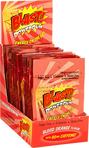 Blast Power Gum Blood Orange Flavor with 80mg Caffeine, 6 Pieces per Pouch (Box of (Power Gum)