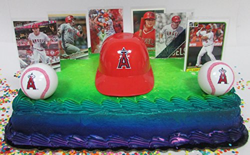 Los Angeles Angels of Anaheim Baseball Team Themed Birthday Cake Topper Set Featuring Angels Player Baseball Cards and Themed Accessories (Baseball Angels Players)