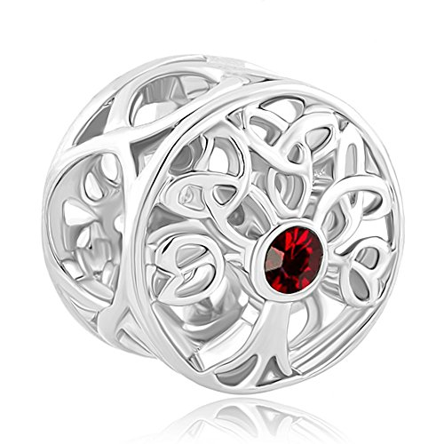 CoolJewelry Sterling Silver Family Tree Of life Jan Dec Birthday Charm Beads For Bracelets