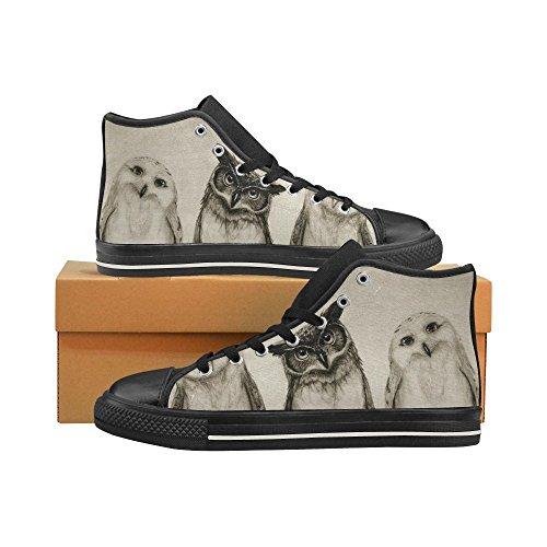 D-story Custom Cute Owl Mens Classic High Top Scarpe Di Tela Sneaker Di Moda