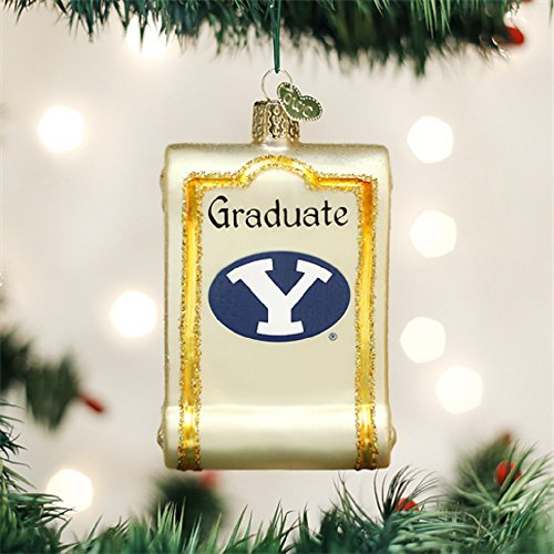 Old World Christmas Collegiate Diploma Glass Ornament (BYU - Cougars Home Byu Office