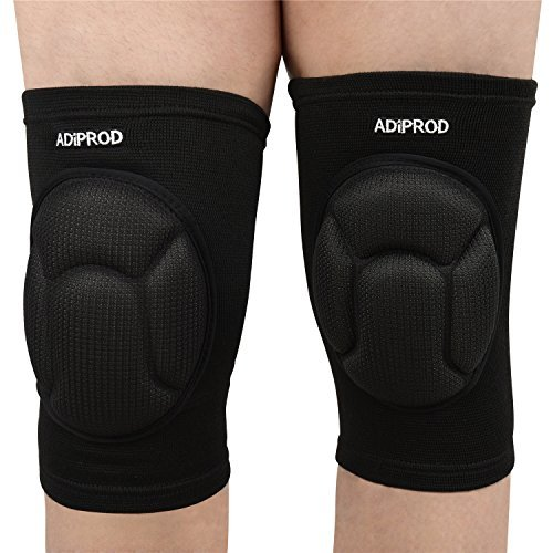 Andance (1Pair) Adjustable Thick Sponge Collision Avoidance Kneeling Kneepad Outdoor Climbing Sports Riding Knee Protector Protection (Black)