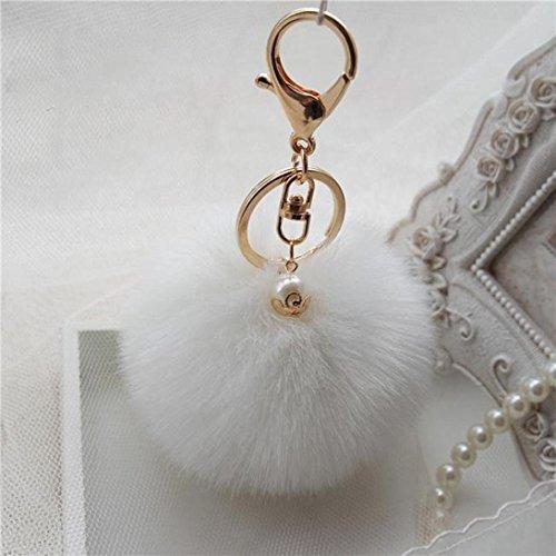 Lanhui Fashion Rabbit Fur Ball Keychain Bag Plush Car Key Ring Car Key Pendant (White Malibu 100 Collection)
