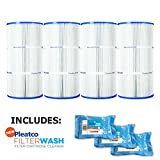 Pleatco Cartridge Filter PCC60 Pack of 4 Pentair Clear & Clear Plus 240 R173572 C-7469 FC-1975 w/ 3x Filter Washes