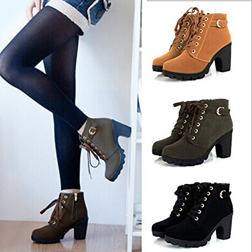 f7c2ba41a77 Favoridol Ladies Chunky Block Heel Zipper Lace Up Ankle Boots Shoes ...