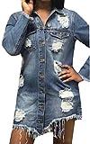 ouxiuli Women Retro Long-Sleeved Destroyed Cotton Irregular Leisure Hip-Hop Washed Denim Coat Blue M