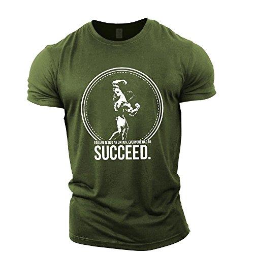 GYMTIER Mens Bodybuilding T-Shirt - Arnold Schwarzenegger Succeed - Gym Training Top Green (Schwarzenegger Xxl)