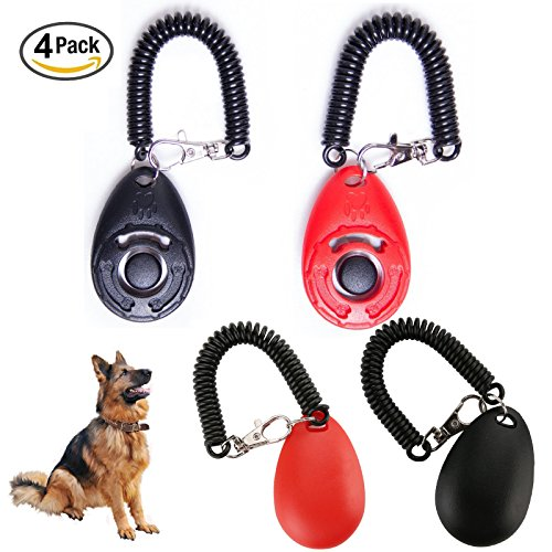 Bulldog Wristband (4 PCS Dog Training Clicker Ztent Professional Pet Training Clicker with Wrist Band Big Button Training Tools for Puppies Young Adult Dogs Labrador German shepherd Golden Retriever Bulldogs Cats Birds)