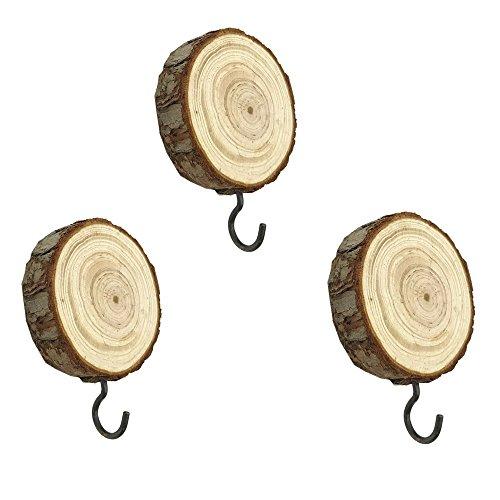 - Vintage Decorative Wall Mounted DIY Crafts Wooden Wall Hooks,Coat Hook Hat Hanger ,Wood Adhesive Hooks (bark)