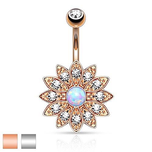 Crystal Paved Petals with Opal Center Small Flower Belly Button ()