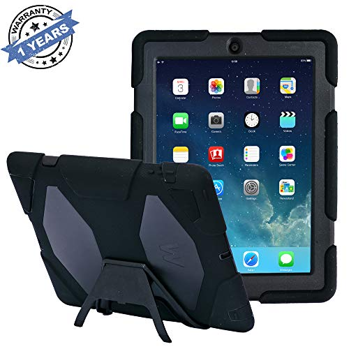 Pad Cases,iPad 2 Case,iPad 3 Case,iPad 4 Case,TRAVELLOR[Heavy Duty] iPad Case,Three Layer Armor Defender And Full Body Protective Case Cover With Kickstand And Screen Protector for iPad 2/3/4(Black)