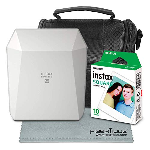 (Fujifilm Instax Share Smartphone Printer SP-3 (White) with Instant Film, Deluxe Camera Case, and FiberTique Cloth (USA)