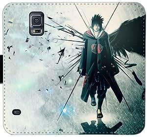 Naruto Sasuke Uchiha animado Y3U3O Funda Samsung Galaxy Note caja de la carpeta de cuero Funda 4 X7qK28 de la manera del caso del tirón del teléfono celular fundas único