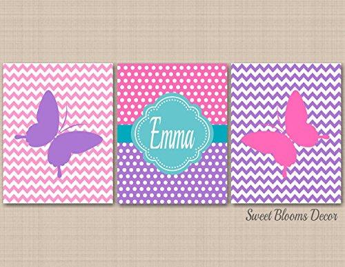 Pink Purple Nursery Decor,Butterflies Nursery Wall Art,Lavender Teal Pink Nursery Wall Art,Purple Teal Nursery,Butterfly Polkadot Nursery Decor-UNFRAMED Set of 3 PRINTS(NOT - C381