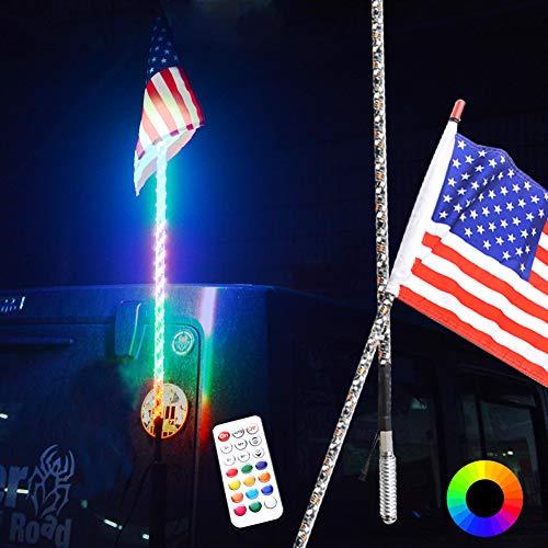 Maiker 4FT LED Whip Lights 360° Twisted Antenna Dream Wrapped Dancing Whips For Polaris RZR ATV Antenna Whip UTV Quad Sand Dune Buggy Flag Poles For Trucks w/Remote Control (One Whip)