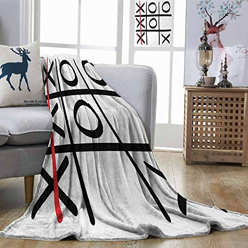 DILITECK Xo Lightweight Blanket Popular Tic Tac Toe Game Pattern Hand Drawn Design Win Victory Finish Theme Suitable for Camping, Travel Vermilion Black White W54 xL84