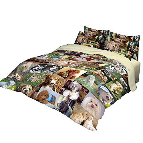 RuiHome 3-Piece Students Dorm Bed Duvet Cover Set 205 Thread Count Soft Polyester Boys Girls Home Bedding Collection - Twin Size, Dog Family Pattern Design
