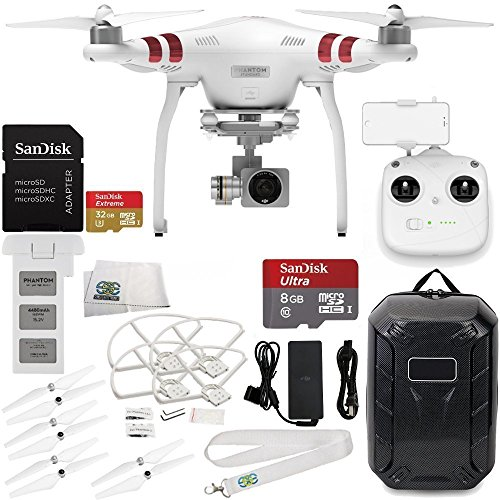 DJI-Phantom-3-Standard-with-27K-Camera-and-3-Axis-Gimbal-Manufacturer-Accessories-DJI-Propeller-Set-Water-Resistant-Hardshell-Backpack-MORE