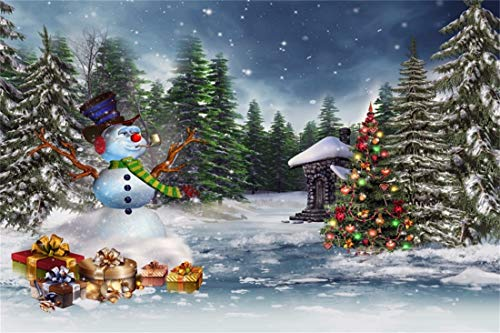 (Yeele Christmas Photography Background 9x6ft Christmas Tree Snowman Candy Gift Box Forest Snow Scene Merry Christmas Xmas Decoration Photo Backdrops Pictures Photoshoot)