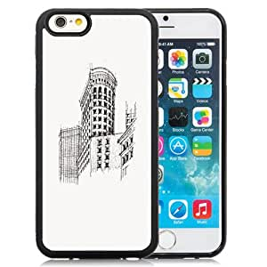 Fashionable And Unique Designed Cover Case For iPhone 6 4.7 Inch TPU With Flatiron Building NYC Sketch_Black Phone Case
