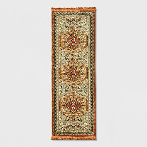 (threshold Jewel Toned Woven Rug -Spiced Green)