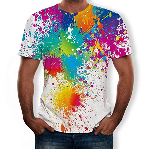 Men's Summer T-Shirts Crewneck Cool Short Sleeve Funny Graphic Print Top Casual 3D Printed Tees Blouse ()