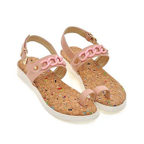 AalarDom Mujer Hebilla Puntera Dividida Mini Tacón Pu Sólido Sandalias de vestir Rosa
