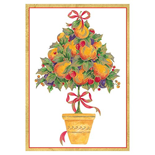 Caspari Pear Topiary Small Boxed Christmas Cards - 16 Cards & 16 Envelopes (Card Topiary)