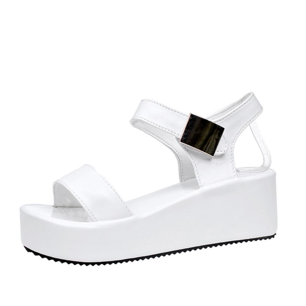 kaifongfu Ladies Flip Flops Women's Summer Sandals Shoes Peep-Toe Low Shoes Roman Sandals (39ღღUS:7, White)
