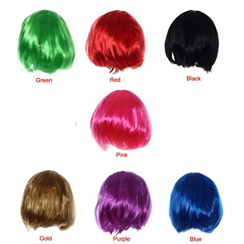 [LUNIWEI Masquerade Small Roll Bang Short Straight Hair Wig] (Making Elf Costume)