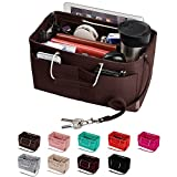 Purse Organizer, Multi-Pocket Felt Handbag Organizer, Purse Insert Organizer with Handles, Medium, Large (Medium, Coffee)