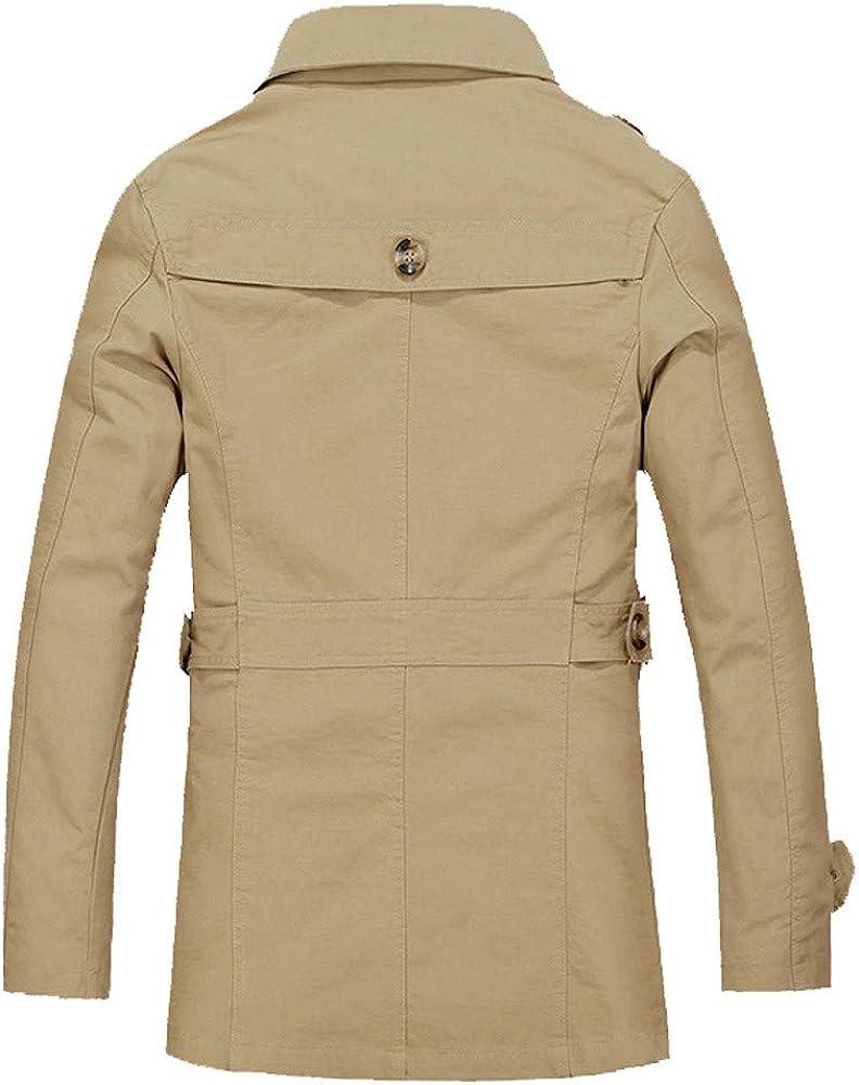MODOQO Mens Jacket Button Winter Warm Coat Long Slim Fit Outwear Overcoat