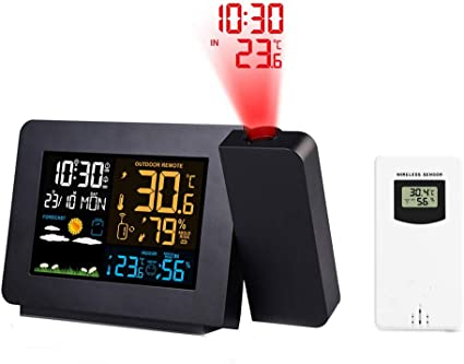LED Digital Projection Alarm Clock Weather Thermometer Snooze Backlight 12//24H