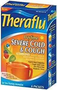 Theraflu Severe Cold, Daytime, Berry Infused with Menthol & Green Tea Flavor, 6 packets (Pack of 4)
