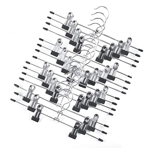 (Tosnail 15 Pack Metal Pants Skirt Hangers with Clips)