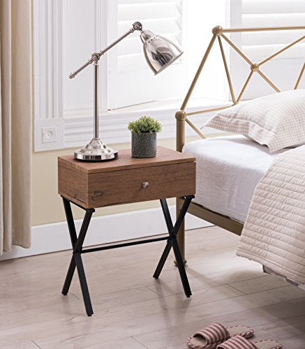 Vintage Brown / Black Metal X-Frame Nightstand Side End Table with Drawer