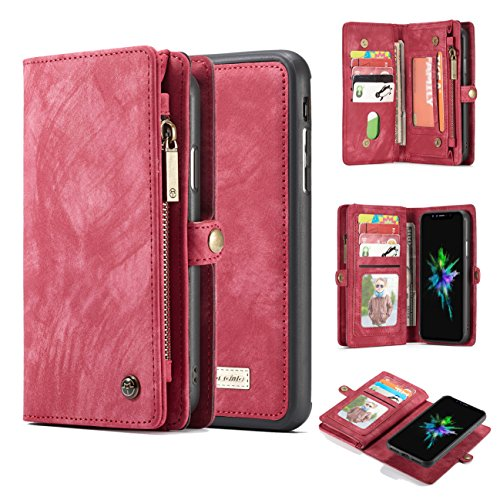 iPhone 8 Plus Wallet Case,AKHVRS Handmade Premium Cowhide Leather Wallet Case,Zipper Wallet Case [Magnetic Closure]Detachable Magnetic Case & Card Slots for iPhone 7 Plus & iPhone 8 Plus - Red