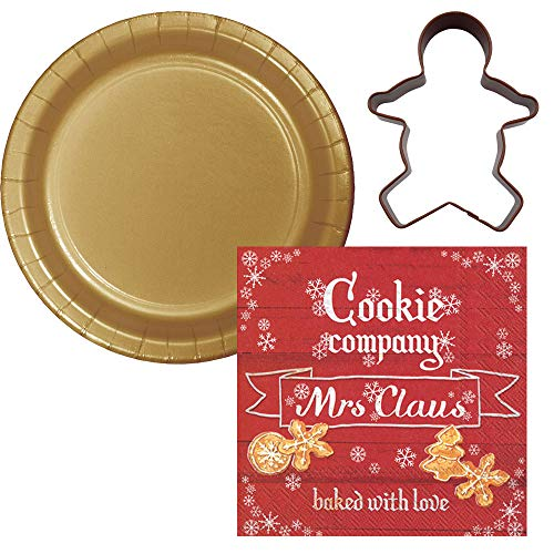 Holiday Christmas Celebrations Dessert Plate & Napkin with Gingerbread Cookie Cutter + Bonus Recipe Bundle, Serves 20 (Mrs. Clause)