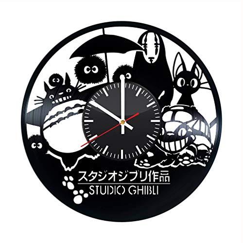Studio Ghibli Vinyl Clock My Neighbor Totoro Spirited Away Vinyl Records Wall Art Room Decor Handmade Decoration Party Supplies Theme Best Original Present Gift Idea Vintage Modern Style