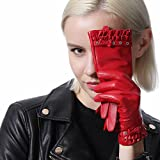 Calharmon Womens Touchscreen Texting Genuine Leather Thin Lined Driving Gloves Mittens Multicolor (Large, Red)