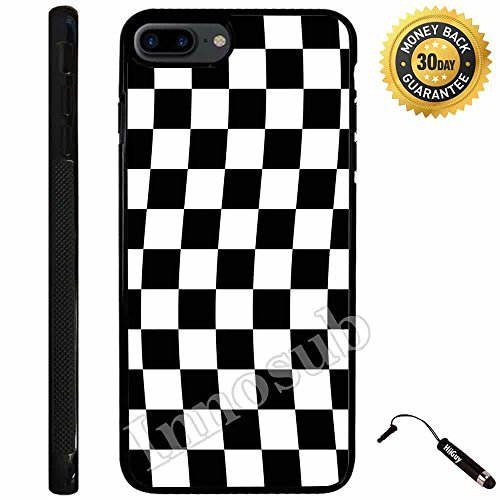 Custom iPhone 7 PLUS Case (Checkered Flag Finish Line) Edge-to-Edge Rubber Black Cover with Shock and Scratch Protection | Lightweight, Ultra-Slim | Includes Stylus Pen by Innosub