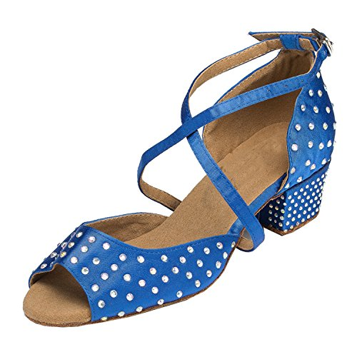 Minitoo Damen-Kristallen, Satin, Party Sandalen Ballroom Latein Tanzschuhe Blau
