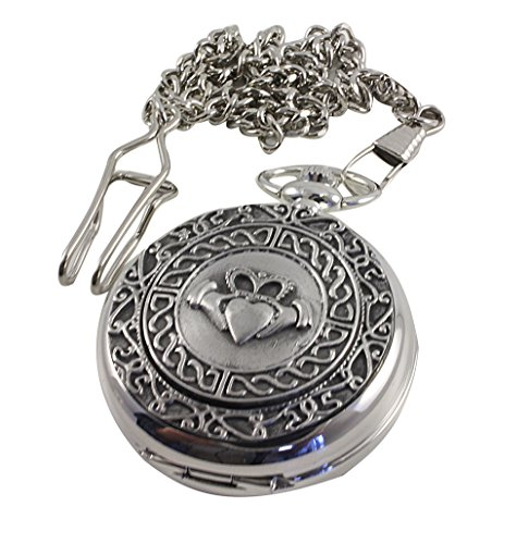 Celtic Claddagh Watch (Mullingar Pewter Pocket Watch Celtic Claddagh Mechanical)