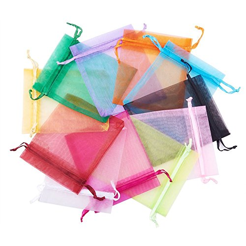 Doitsa 100pcs Drawstring Bags Party Favors Mulicolor Organza Bags 2.7 x 3.5 Inch Wedding Party Favor Bags Drawstring Gift Bag Jewelry Candy Business Samples Display Craft Show Baby Shower Favors