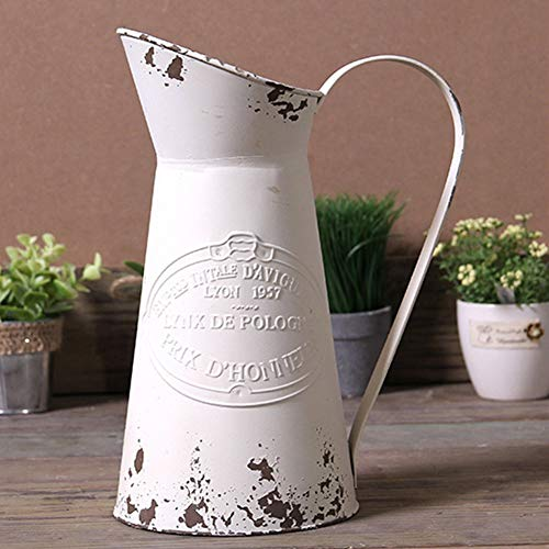 - MISIXILE French Style Country Vintage White Large Vase, Metal Rustic Primitive Jug Vase Pitcher for Home Wedding Cafe Decor-11(Off-White)