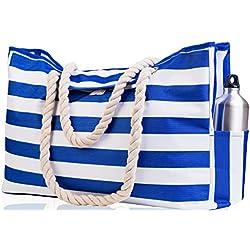 "Beach Bag XXL (HUGE). 100% Waterproof. L22""xH15""xW6"". Cotton Rope Handles, Top Magnet Clasp, Outside Pockets. Dark Blue Stripes Shoulder Beach Tote has Phone Case, Built-In Key Holder, Bottle Opener"