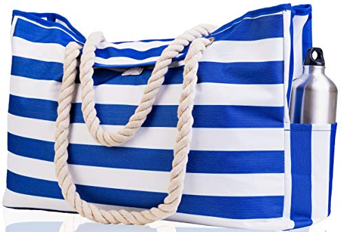 "Beach Bag XXL (HUGE). 100% Waterproof. L22""xH15""xW6"". Cotton Rope Handles, Top Magnet Clasp, Outside Pockets. Dark Blue Stripes Shoulder Beach Tote has Phone Case, Built-In Key Holder, Bottle Opener"
