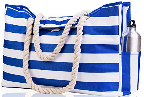 Beach Bag XXL (HUGE). 100% Waterproof. L22'xH15'xW6'. Cotton Rope Handles, Top Magnet Clasp, Outside Pockets. Dark Blue Stripes Shoulder Beach Tote has Phone Case, Built-In Key Holder, Bottle Opener