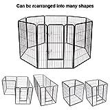 S AFSTAR Safstar Heavy Duty Pet Dog Puppy Outdoor Exercise Playpen Fence Door Black 8 Panels (40'': 40'' H x 31'' W)