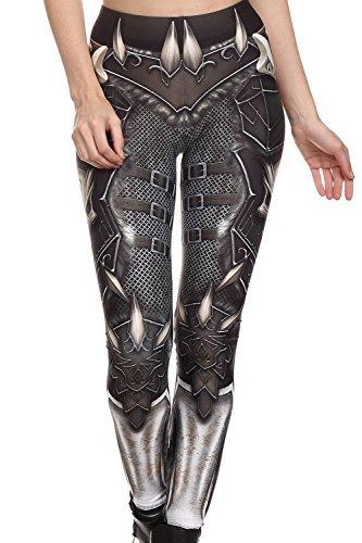 Mad Ink Women's Girls Pioneer Warrior Sexy Tattoo Digital Print Elasticity Leggings Pencil Pants Tights 3
